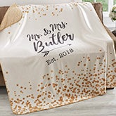 Personalized Wedding Sherpa Blankets - Sparkling Love - 18626