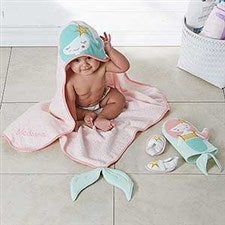 Mermaid Baby Bath Set - with Embroidered Name - 18630