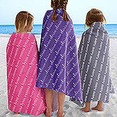 Personalized Beach Towels for Kids - Repeating Name - 18671