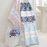 Personalized Bath Towels - Geometric Pattern - 18696
