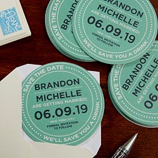 Personalized Wedding Paper Coasters - Save The Date - 18705