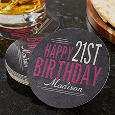 Personalized Paper Coasters - Vintage Birthday - 18706