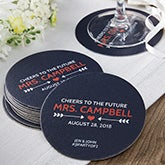 Bridal Shower Personalized Paper Coasters - 18709