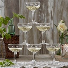 Personalized Wedding Champagne Coupe Glasses - 18738