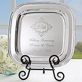 Personalized Silver Tray - Anniversary Year Keepsake - 18747