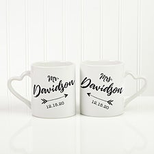 Personalized Wedding Arrow Coffee Mugs - Set of 2 - 18754