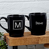Custom Black Coffee Mugs - Monogram or Name - 18765