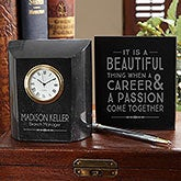 Engraved Marble Desk Clock - Coworker Gift - 18784