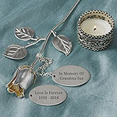 Engraved Silver Memorial Keepsake Rose - 18810