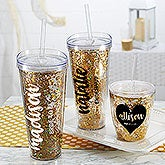 Personalized Bridal Party Tumblers - Glitter & Gold - 18820