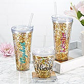 Personalized Insulated Tumblers - Glitter & Gold - 18821