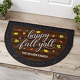 Happy Fall Y'All Personalized Half Circle Doormats - 18840