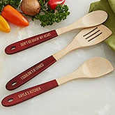 Personalized Red-Handled Bamboo Cooking Utensils - 18856