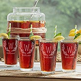 Monogrammed Drinking Glasses - Farmhouse Floral - 18868