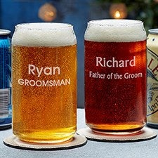 Custom Beer Can Glass for Groomsmen - 18874