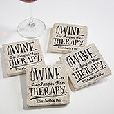 Personalized Stone Coasters - Always Time For Wine - 18875