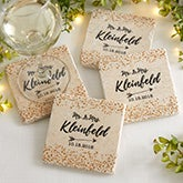 Sparkling Love Personalized Tumbled Stone Coaster Set - 18876
