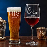 His & Hers Personalized Glasses - Beer & Wine - 18880