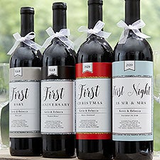 Personalized Milestone Wine Labels - A Year of Firsts - 18897