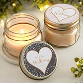 Personalized Mason Jar Candle Favors - Sparkling Love - 18919
