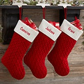 Custom Red Cable Knit Christmas Stockings - 19012