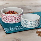 Pet Repeating Name Personalized Dog Bowls - 19024
