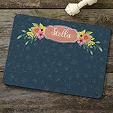 Personalized Dog Food Mat - Floral Design - 19028