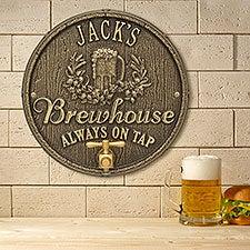 Personalized Plaque - Oak Barrel Brew Pub Sign - 19076D
