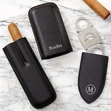 Personalized Leather Cigar Case & Cutter Set - 19089