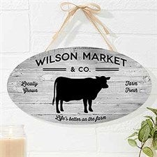Farmhouse Kitchen Personalized Oval Wood Sign - 19110