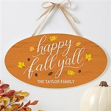 Happy Fall Y'All Personalized Fall Wood Sign - 19111