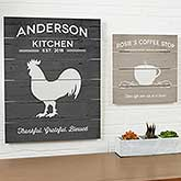 Farmhouse Kitchen Personalized Wooden Slat Signs - 19162