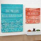Coastal Wall Decor -  Personalized Wood Plank Signs - 19164