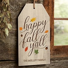 Happy Fall Y'All Personalized Wood Sign - 19180