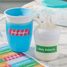 Personalized Baby Bottle Labels - Colorful Patterns - 19237