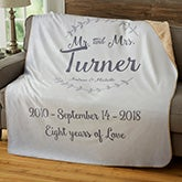 Personalized Wedding Sherpa Blankets - Mr & Mrs - 19269