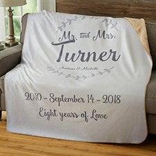 Personalized Wedding Sherpa Blankets - Mr & Mrs - 19269