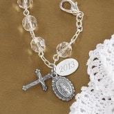 Silver Rosary Crystal Bead Bracelet with Monogram - 1927