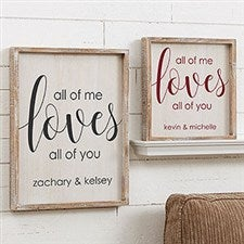 Personalized Barnwood Frame Typography Art - All Of Me - 19275