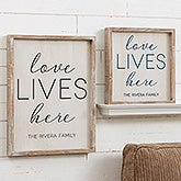 Custom Barnwood Wall Art - Love Lives Here - 19276