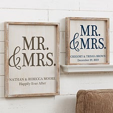Personalized Wedding Framed Wall Art - Mr & Mrs Barnwood Frame - 19277