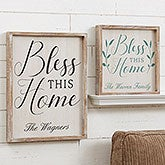 Bless This Home Personalized Wall Art - Barnwood Frame - 19278