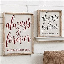 Custom Barnwood Wall Art - Always & Forever - 19281