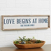 Personalized Barnwood Wall Art - Love Begins At Home - 19283