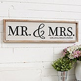 Personalized Barnwood Wall Art - Mr & Mrs - 19287