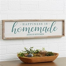 Personalized Barnwood Wall Art - Happiness is Homemade - 19289