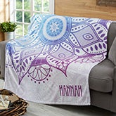 Personalized Fleece Blankets - Mandala - 19304