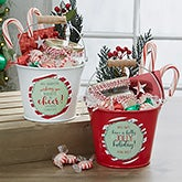 Personalized Teacher Gift - Holly Jolly Metal Bucket - 19334