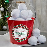 Indoor Snowball Fight Personalized Red Metal Bucket - 19356