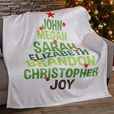 Personalized Holiday Fleece Blankets - Christmas Family Tree - 19358